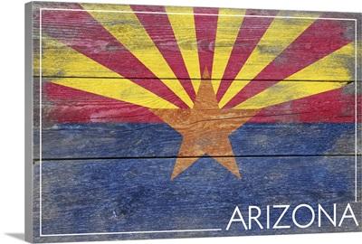 Arizona State Flag on Wood