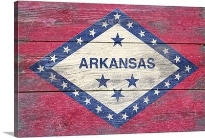 Arkansas State Flag on Wood