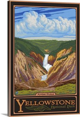 Artist Point - Yellowstone National Park: Retro Travel Poster