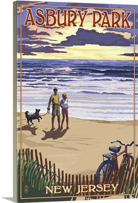 Asbury Park, New Jersey - Beach and Sunset: Retro Travel Poster