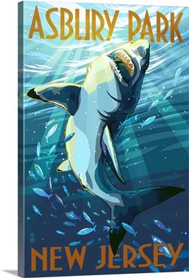 Asbury Park, New Jersey - Stylized Shark: Retro Travel Poster