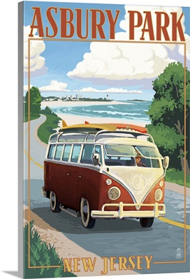 Asbury Park, New Jersey - VW Van Coastal Drive: Retro Travel Poster