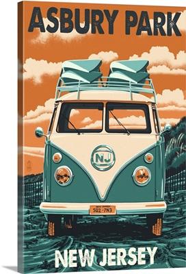 Asbury Park, New Jersey - VW Van Letterpress: Retro Travel Poster