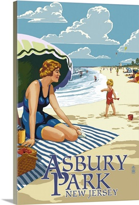 Asbury Park, New Jersey - Woman on the Beach: Retro Travel Poster