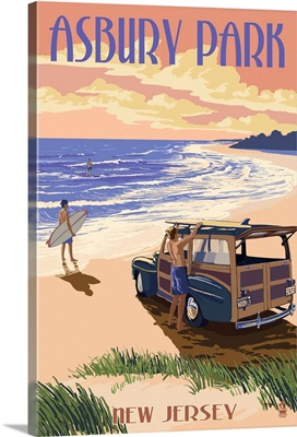 Asbury Park, New Jersey - Woody On The Beach: Retro Travel Poster