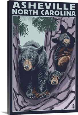 Asheville, North Carolina - Bear Family in Tree: Retro Travel Poster