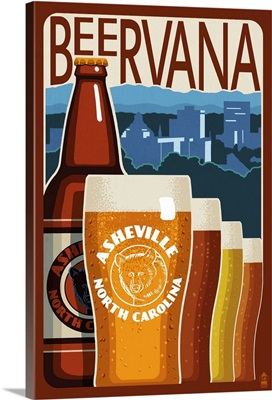 Asheville, North Carolina - Beervana: Retro Travel Poster