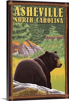 Asheville, North Carolina - Black Bear in Forest: Retro Travel Poster
