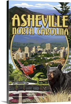 Asheville, North Carolina - Montage Scenes: Retro Travel Poster