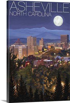 Asheville, North Carolina - Skyline at Night: Retro Travel Poster