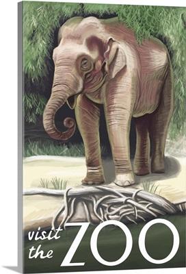 Asian Elephant - Visit the Zoo: Retro Travel Poster