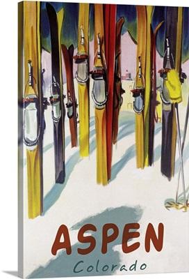 Aspen, CO - Colorful Skis: Retro Travel Poster