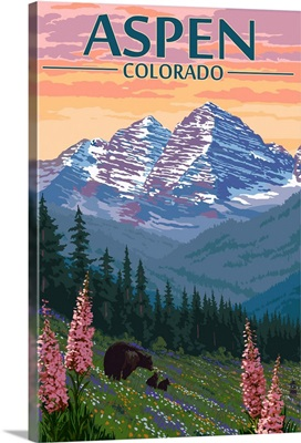 Aspen, Colorado, Bear and Spring Flowers