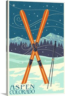 Aspen, Colorado - Crossed Skis - Letterpress: Retro Travel Poster