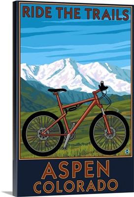 Aspen, Colorado - Ride the Trails, Mountain Bike: Retro Travel Poster