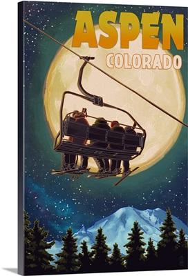 Aspen, Colorado - Ski Lift and Full Moon: Retro Travel Poster