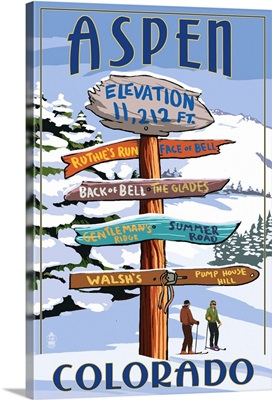 Aspen, Colorado - Ski Signpost: Retro Travel Poster