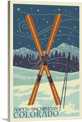 Aspen - Snowmass, Colorado - Crossed Skis Letterpress: Retro Travel Poster