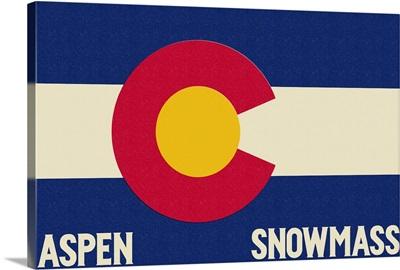 Aspen - Snowmass, Colorado State Flag: Retro Travel Poster