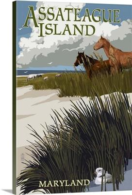 Assateague Island, Maryland - Horses and Dunes: Retro Travel Poster