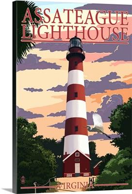 Assateague, Virginia - Lighthouse: Retro Travel Poster