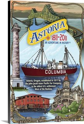 Astoria, Oregon Montage - Bicentennial: Retro Travel Poster