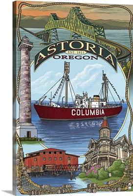 Astoria, Oregon Montage: Retro Travel Poster