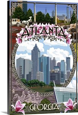 Atlanta, Georgia - City Scenes Montage: Retro Travel Poster