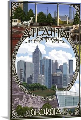 Atlanta, Georgia - Montage (No Flowers): Retro Travel Poster