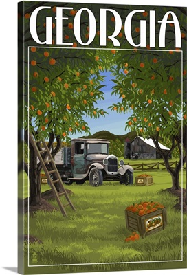 Atlanta, Georgia - Peach Orchard: Retro Travel Poster