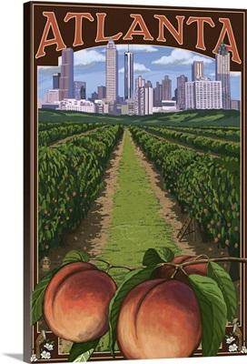 Atlanta, Georgia - Peaches: Retro Travel Poster