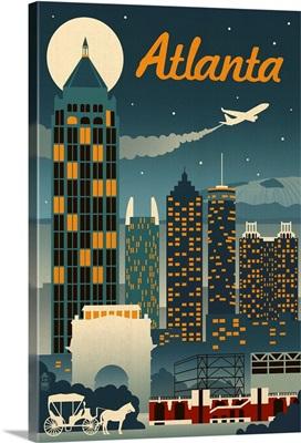 Atlanta, Georgia - Retro Skyline: Retro Travel Poster