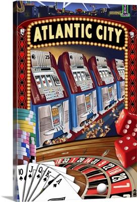 Atlantic City - Casino Scene: Retro Travel Poster