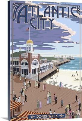 Atlantic City, New Jersey - Boardwalk: Retro Travel Poster