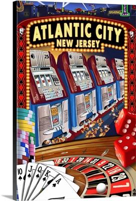 Atlantic City, New Jersey - Casino Scene: Retro Travel Poster