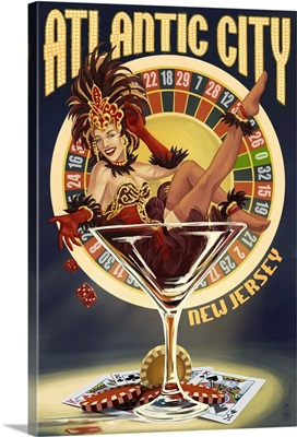 Atlantic City, New Jersey - Pinup Showgirl: Retro Travel Poster