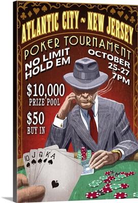 Atlantic City, New Jersey - Poker Tournament Vintage Sign: Retro Travel Poster