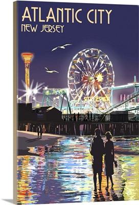 Atlantic City, New Jersey - Steel Pier at Night: Retro Travel Poster