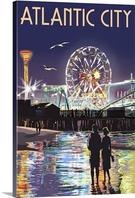 Atlantic City - Steel Pier at Night: Retro Travel Poster