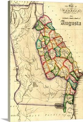 Augusta, Georgia, Vintage Map