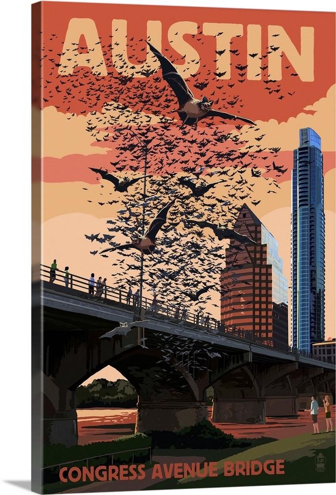 Austin Texas Bats And Congress Avenue Bridge Retro