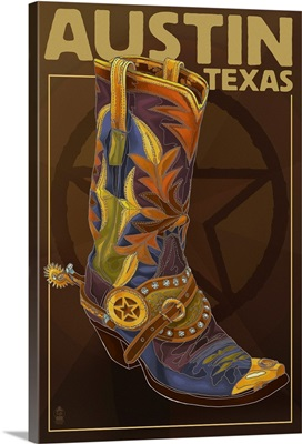 Austin, Texas - Boot and Star: Retro Travel Poster