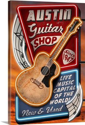 Austin, Texas - Guitar Shop Vintage Sign: Retro Travel Poster