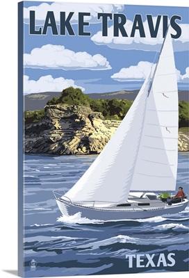 Austin, Texas - Lake Travis Sailing Scene: Retro Travel Poster