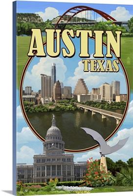 Austin, Texas - Montage Scenes: Retro Travel Poster