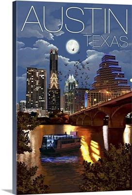Austin, Texas - Skyline at Night: Retro Travel Poster