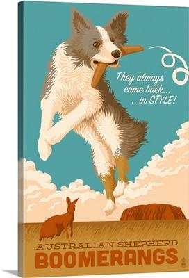 Australian Shepherd, Retro Boomerang Ad