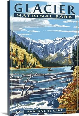 Avalanche Lake - Glacier National Park, Montana: Retro Travel Poster