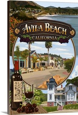 Avila Beach, California - Montage Scenes: Retro Travel Poster