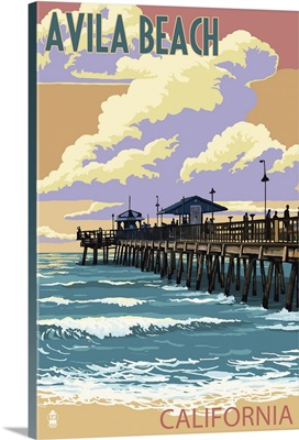 Avila Beach, California - Pier Sunset : Retro Travel Poster